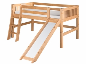 Mission Low Loft Bed with Slide in Natural