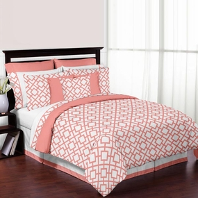 Mod Diamond Coral & White Kids Bedding Collection