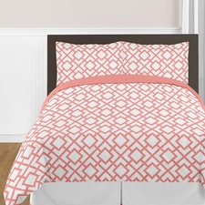 Mod Diamond Coral & White Comforter Set