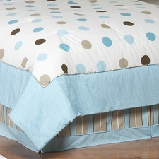 Mod Dots Blue & Chocolate Full/Queen Bed Skirt