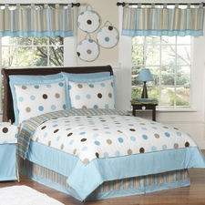 Mod Dots Blue & Chocolate Comforter Set