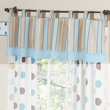 Mod Dots Blue & Chocolate Window Valance