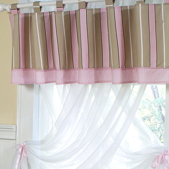 Mod Dots Pink & Chocolate Window Valance