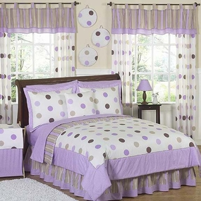 Mod Dots Purple & Chocolate Kids Bedding Collection