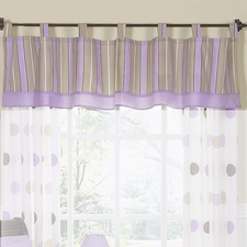 Mod Dots Purple & Chocolate Window Valance.