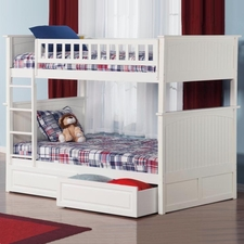 Nantucket Twin/Twin Bunk Bed with Drawers in White