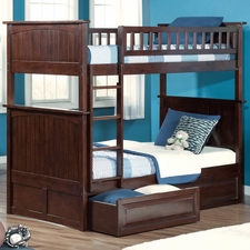 Nantucket Twin/Twin Bunk Bed with Drawers in Antique Walnut