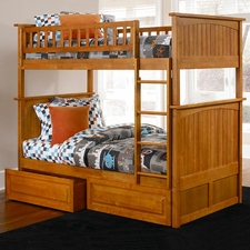 Nantucket Twin/Twin Bunk Bed with Drawers in Caramel Latte