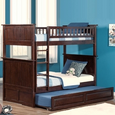Nantucket Twin/Twin Bunk Bed with Trundle in Antique Walnut