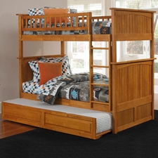 Nantucket Twin/Twin Bunk Bed with Trundle in Caramel Latte