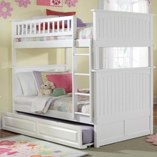 Nantucket Twin/Twin Bunk Bed with Trundle in White