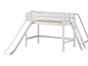 Ninja Mid-Height Loft Bed with Slide and Angled Ladder on End