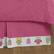 Owl Pink Full/Queen Bed Skirt