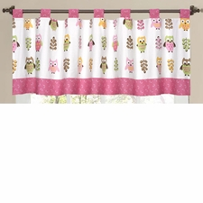 Owl Pink Window Valance