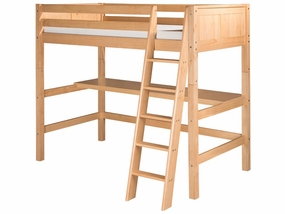 Panel High Loft Bed with Desk Top in Natural
