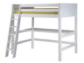 Panel High Loft Bed with Desk Top in White