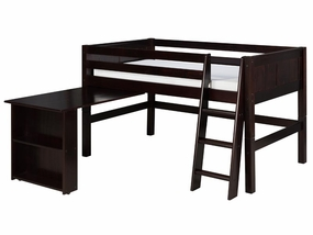 Panel Low Loft Bed with Retractable Desk in Cappuccino