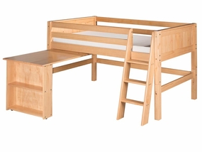 Panel Low Loft Bed with Retractable Desk in Natural