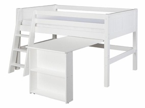 Panel Low Loft Bed with Retractable Desk in White