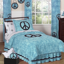 Peace Blue Comforter Set