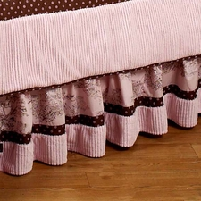 Pink & Brown Toile Full/Queen Bed Skirt