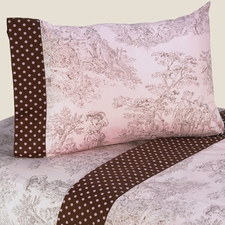Pink & Brown Toile Sheet Set