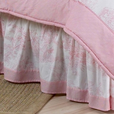 Pink Toile Full/Queen Bed Skirt