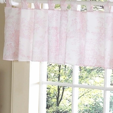 Pink Toile Window Valance