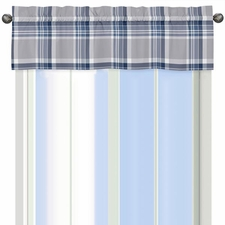 Plaid Navy and Gray Valance