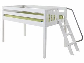 Right Low Loft Bed with Angled Ladder on End