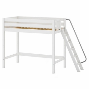Dunk Twin High Loft Bed with Angled Ladder on End