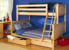 Slope 1 Twin/Full Medium Bunk Bed with 2-Underbed Drawers