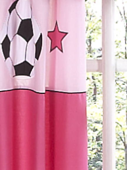 Soccer Pink Curtain Panel Set
