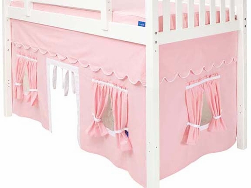 Soft Pink/White Mid-Height Underbed Loft Curtain