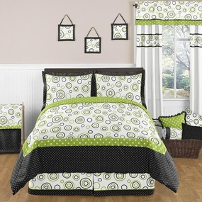 Spirodot Lime and Black Kids Bedding
