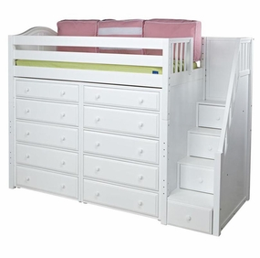 Star 3 Twin High Loft Bed with Staircase and 2 Chests