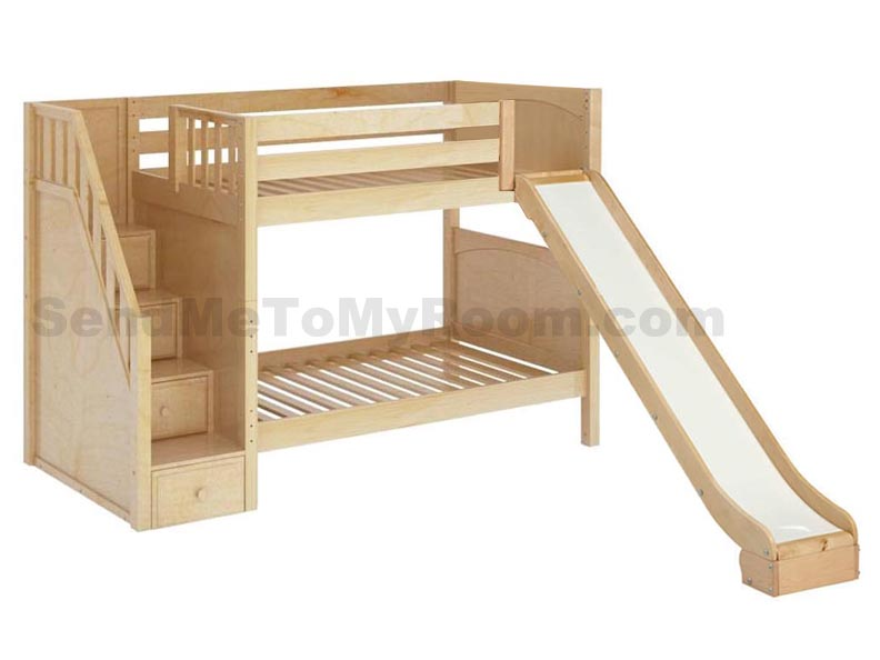 Maxtrix Stellar Medium Bunk Bed with Slide and Stairs - Bunk Beds