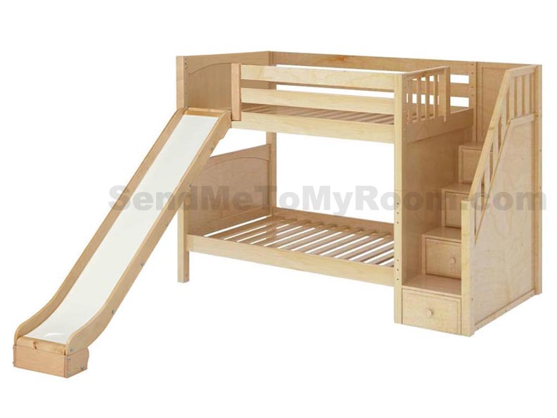 Maxtrix stellar medium bunk bed with slide and stairs bunk beds