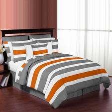 Stripe Gray and Orange Comforter Set
