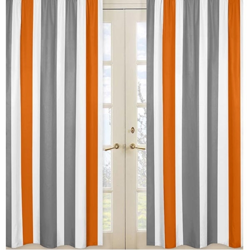 Curtains Ideas grey and orange curtains : ... Jojo Designs Stripe Gray and Orange Curtain Panels - Curtain Panels