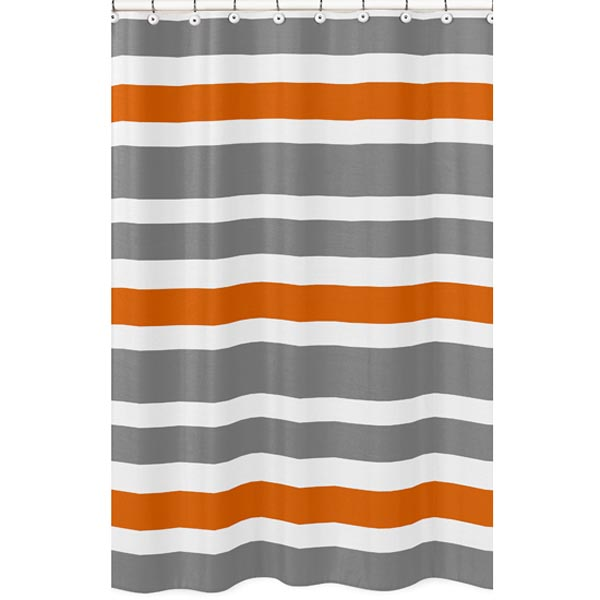 Curtains Ideas gray and orange shower curtain : ... Jojo Designs Stripe Gray and Orange Shower Curtain - Shower Curtains
