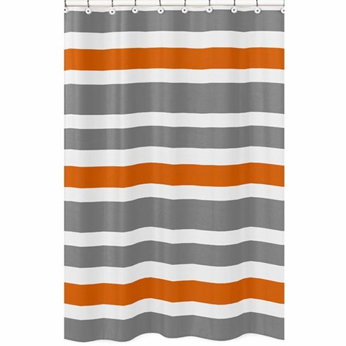 Zenith Curved Shower Curtain Rod Orange & White Shower Curtain