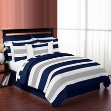 Stripe Navy and Gray Comforter Set