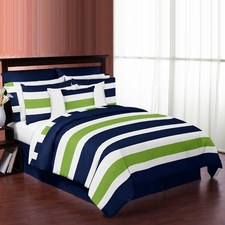 Stripe Navy and Lime Comforter Set