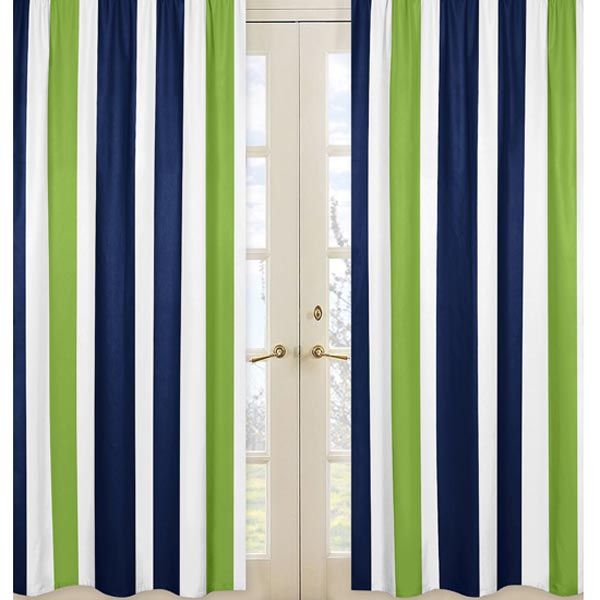 ... Jojo Designs Stripe Navy and Lime Curtain Panels - Curtain Panels
