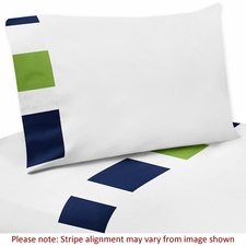 Stripe Navy and Lime Sheet Set
