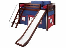 Sweet 21 Mid-Height Loft Bed with Curtain and Slide