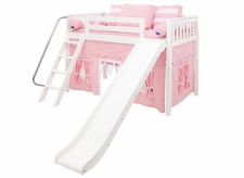 Sweet 23 Mid-Height Loft Bed with Slide and Curtain