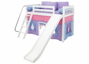 Sweet 27 Mid-Height Loft Bed with Slide and Curtain