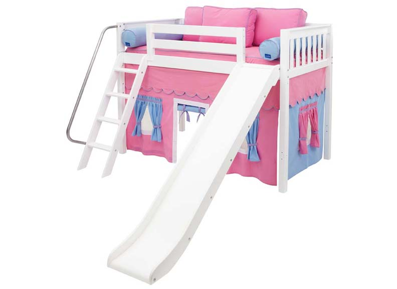 Maxtrix Sweet 28 MidHeight Loft Bed with Slide and Curtain 792 x 576